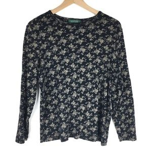 Lauren Ralph Lauren Top Long Sleeve Floral Stretch